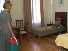 Horny after a party, dude gets aged cleaning lady to blow him