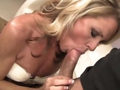 Admirable looking slender blond MILF Nikki Charm takes sturdy weenie in her mouth. But after weenie engulfing this babe uses her tongue to give pleasure to her fuck buddy. That sweetheart licks his butthole and that dude likes it so much.