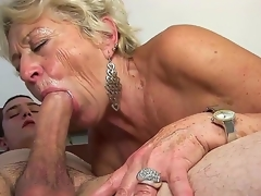 Mature blond slut Malya enjoys younger guy in nasty hardcore sex session
