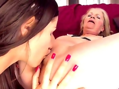 Young pretty brunette hair hottie Ashley playing lesbian games with her old neighbor Gabi