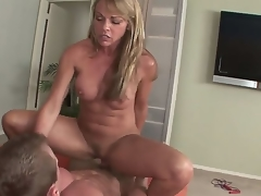 Mature golden-haired Shayla Laveaux enjoys sucking on a huge cock previous to fucking it hard