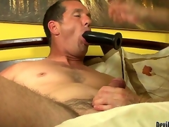Alexandra Silk is giving her fresh man Paul Carrigan a great bj during the time that this chab is sucking on a toy as well. She really works on his wang and then gives him a ride and u just know this chab is expecting for something.