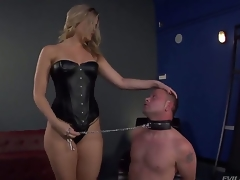 Bombshell golden-haired Alexis Texas is one hot looking and evil domina, holding Jeremy Conway in a leash and making him show his admiration for her perfectly shaped ass...