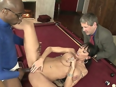 Black haired cuckold Alia Janine with perfectly shaped body and big natural gaongas gets boned unfathomable by black bull Sean Michaels on billiard table during the time that her hubby Jimmy Broadway is watching.