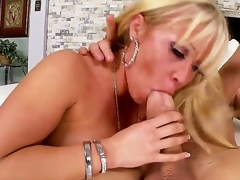 Arousing schlong loving blond milf Austin Taylor with big jaw dropping round butt and whorish enormous make up seduces tattoos chap and rides on his schlong like there is no tomorrow.