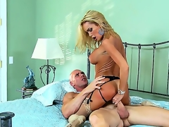 Tanned experienced pornstar blonde wench Devon with large tits and hawt ass in slutty lingerie and stripper shoes rides on bald horny Johnny Sins with muscled hawt body