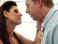 India Summer gives Mark Wood a blow job in the bathroom. This black haired temptress looks absolutely stunning as this sweetheart sits astride the toilet seat in her sexy underclothing and fish net stockings as this sweetheart sucks on Marks hard cock.