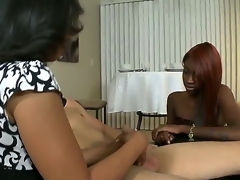 Knob loving turned on black harlots Anita Peida and Sky Hustle have a fun giving hawt blowjob session to white skinny dude with stiff fat pecker in arousing mother and daughter dream