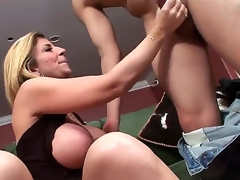 Horny hunk David Loso really enjoys in getting a sexy and steaming orall-service session from a heavy chested blonde honey Sara Jay in sexy underware and heels on the bed in living room