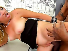 A obscene golden-haired  Andrea Acosta sucks a giant black penis in a class room. She slowly dresses off and allows her partner to pound her in the moist bawdy cleft right on the table betwixt manuals.