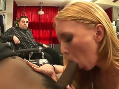 Wicked MILF Ami Emerson indeed craves to smack the large black cock of Tyler Knight  and the presence of her hubby is clearly not going to stop her. See her blow the guy!