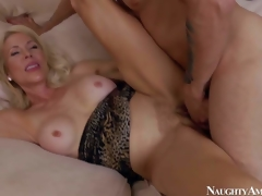 Lewd and aroused blonde milf with big love melons Erica Lauren enjoys in seducing her young neighbour Mr. Pete and getting her shaved bawdy cleft slammed hard on the bed in bedroom