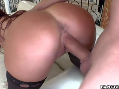 Red-haired hot milf Tiffany Mynx in stockings shows off her bubble butt and giant boobs after she takes off her brassiere and panties. She gets her vagina pounded deep and hard doggy style!