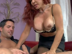 Sexy Vanessa is a good looking big breasted older redhead. She turns on her step-son with her juggs and takes his rock subrigid jock in her experienced mouth. Watch stacked milf give headjob