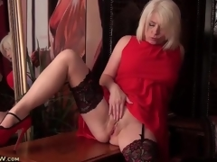 Stockings and sexy red dress on blonde milf