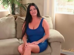 Curvy milf Sammy Brooks in a taut blue dress