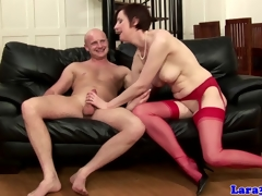 English mature in red stockings drilled
