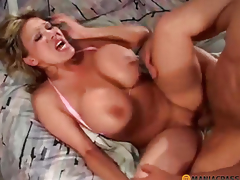 Cutie with large boobs doing oral-job job peasant