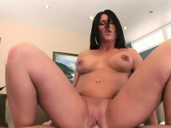 Busty brunette with perky fake tits gets nailed in her gnarly gap