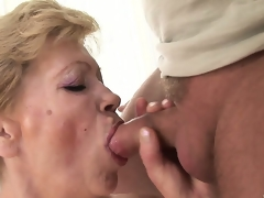 He wants to cum inside this granny but 1st this chab bonks her shaggy snatch