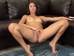 Hawt black brown cutie, Anna Morna, makes a juicy mess of her vagina
