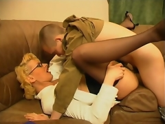 Concupiscent milf teasing younger fellow with her skills in cock-sucking and riding
