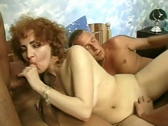 Hawt Jammie thinks that this babe still has what it takes to be in porn and here in her audition, she's ganged up by three hot men. They play with her mature billibongs then acquire her down on all fours so they could plug her from one as well as the other ends with a cock betwixt her tits.