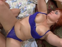 Fiery mommy in bright undies wakes up her young lover for wild morning sex