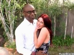 Sexy and horny redhead milf seduces a nerdy black thug