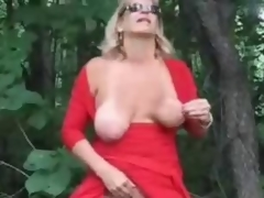 Scalding mature streetwalker fingering roughly wood
