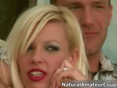 Hot blonde floosie gets horny talking