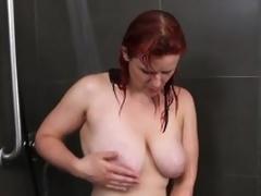 Busty dilettante milf masturbates in the shower