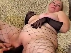 Grown up blonde Cynthia sucks a cock and lets the guy plaything her strong cunt