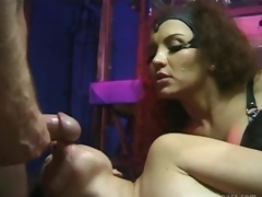 Breasty Latin babe Dominatrix Fucks Her Sex Slaves Until Getting Facialized