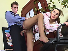 Lusty older hotty in control top tights luring policeman into fucking frenzy