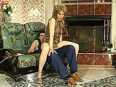 Lewd mama in silky pantyhose giving legjob burning with desire for hard drilling